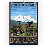 Lantern Press Boulder, Colorado - Mountain Bike (24x36 Print, Wall Decor Travel Poster)