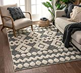 Well Woven Cenar Grey Flat-Weave Hi-Low Pile Diamond Medallion Stripes Moroccan Tribal Area Rug 5x7 (5'3' x 7'3')