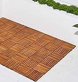 VIFAH V355 8-Slat Acacia Hardwood Interlocking Deck Tile, Teak Finish, Pack of 10 Tiles
