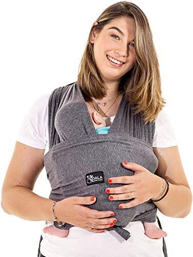 Fascia porta bambino facile da indossare (easy on), regolabile unisex - Marsupio neonati multiuso adatto fino a 10kg - Fascia porta bebe - Antracite - Design Registrato KBC