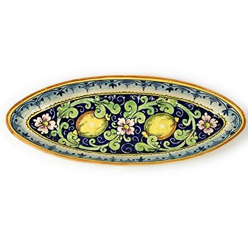 CERAMICHE D'ARTE PARRINI- Ceramica italiana artistica, vassoio decorazione limoni, dipinto a mano, made in ITALY Toscana