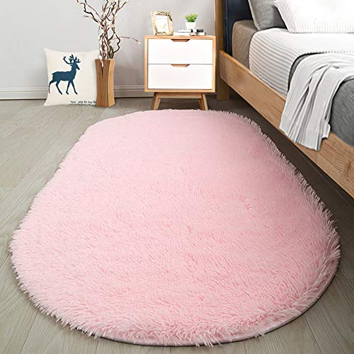 Softlife Fluffy Area Rugs for Bedroom 2.6' x 5.3' Oval Shaggy Floor Carpet Cute Rug for Girls Room Kids Room Living...