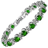 [RIZILIA BLOSSOM] Round Simulated Green Emerald and White Cubic Zirconia 18K White Gold Plated Tennis Bracelet, 7'