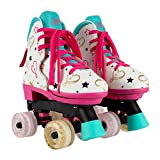 Circle Society Classic Adjustable Indoor & Outdoor Childrens Roller Skates - JoJo Siwa Party in Pink - Sizes 12-3