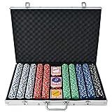 vidaXL Juego de Póker con Maletín con 1000 Fichas Aluminio Set de Jugar Póquer