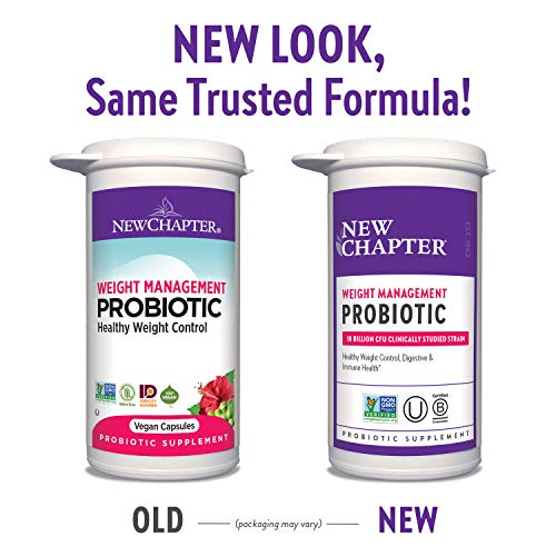 New Chapter Weight Management Probiotic, 60ct (2 Month Supply), Probiotics for Men & Women with Prebiotics and Probiotics + 100% Vegan + Soy Free + Non-GMO 5