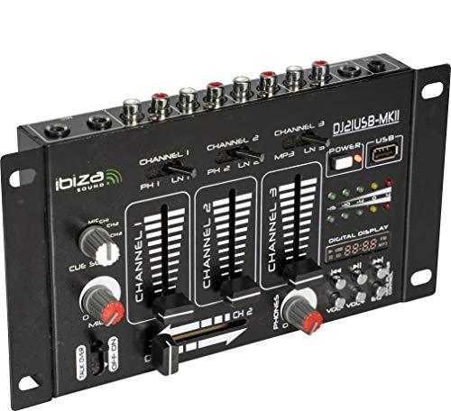 Ibiza Dj21Usb-Mkii Mixer a 4 Canali USB Mp3, Nero