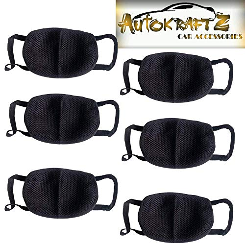 Autokraftz POLLUTION_MASK_ST6 Cotton Anti-Pollution Face Mask (Black, Pack of 6)