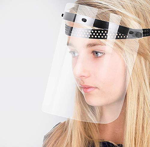Protezione per occhi e testa, anti-appannamento, in policarbonato trasparente affusolato.