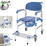Toilet Chair Commode with A Wheel Chair, Wheelchair Shower Transport Chair Disabled Toilet Stool /4 Wheel Brakes (360°), Folding Mobile Toilet for Elderly Disabled 350lb