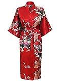 Cityoung-Kimono Japonais en Satin Sexy Robe de Chambre Peignoir-Femme (Rouge,M)