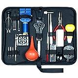 Juego de herramientas para reparación de relojes (21 piezas, abridor de cajas, extractor de pasadores con maletín) 21pcs Negro