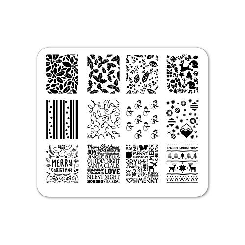 Winstonia Christmas Nail Stamping Plate Nail Art Image Stencil Manicure Template Festive Winter Holiday (Holly Jolly Christmas)
