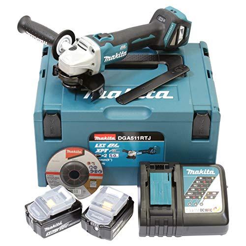 Makita DGA511RTJ 18 V / 5 Ah Cordless Angle Grinder 2 Batteries + Charger, Bleu/Argent, Size