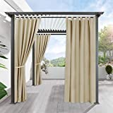 RYB HOME Pergola Outdoor Drapes - Blackout Patio Outdoor Curtains Waterproof Outside Décor with Tab Top Privacy Protect for Pavilion/Porch/Yard/Cabin, 1 Panel, 52 x 84, Cream Beige
