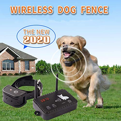 JUSTPET Wireless Dog Fence Pet Containment System, Dual Antenna Vibrate/Shock Dog Fence, Adjustable Range Up to 900 Feet, Independently Developed New Technology, Applied for US Patent