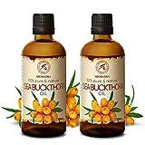 Aceite de Espino Amarillo 2x100ml - Prensado en Frío - Aceite de Hippophae Rhamnoides 200ml - 100%...