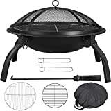 Yaheetech 22inch Firepit Portable Folding Steel Fire Bowl Garden Treasures Fire Pit Wood Burning Outdoor Fireplace with Spark Screen, BBQ Grill, Log Grate & Carrying Bag for Patio Backyard Camping
