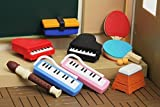 EXTRACURRICULAR Sports Musical Instruments Erasers 8 Pack