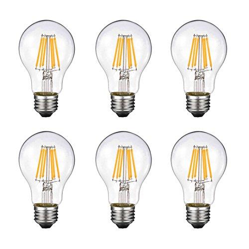 A60 6W LEDフィラメント電球、2700 K(ウォームホワイト)調光器非対応 550lm、白熱電球60W形相当 アンティ...