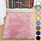 junovo Luxury Fluffy Area Rugs Furry Rug for Bedroom Faux Fur Sheepskin Nursery Rugs Fur Carpet for Kids Room Living Room Home Decor Floor Mat, 2ft x 3ft Pink