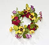 Worth Imports 4.25' RED & Yellow Pansy Set of 2 Candle Ring, Yellow,Red,Pink,Green