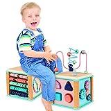 Ulmisfee Activité Cube Perle Labyrinthe Jouet Éducatif Cube Jouet Activité en Bois de pour Enfants et Bébés 1 2 3+ Ans (Blue)
