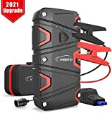 Lithium Jump Starter - YABER 1200A Peak 16000mAh Car Battery Booster Pack for Up to 7.5L Gas or 6.0L Diesel with USB Quick Charge, 12V Battery Starter with Smart Jumper Cables Built-in LED Flashlight
