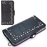 トライアングルスタッズ iPhone 12 Pro / 12 手帳型 ケース エンボスクロコ ブラック MSカード……