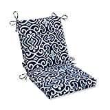 Pillow Perfect Outdoor/Indoor New Damask Marine Square Corner Chair Cushion, 36.5' x 18', Blue