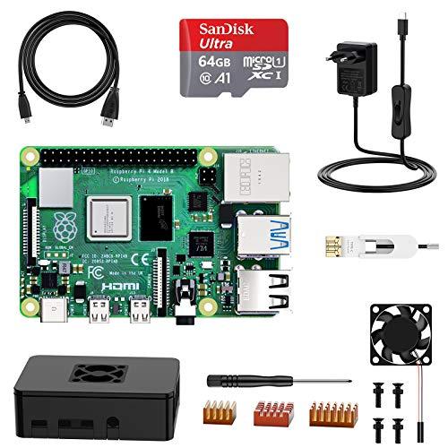 NinkBox Raspberry Pi 4 Modelo B, Micro SD de【4GB RAM+64GB】 Versión Actualizada de Raspberry pi 3b+, con Micro HDMI, Fuente de Alimentación 5V/3A con Interruptor, Ventilador, Micro HDMI