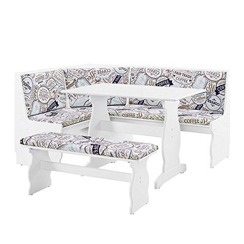 Riverbay Patio Conversation Indoor 3 Piece Kitchen Corner Nook Table Booth Bench Breakfast Dining Set in White