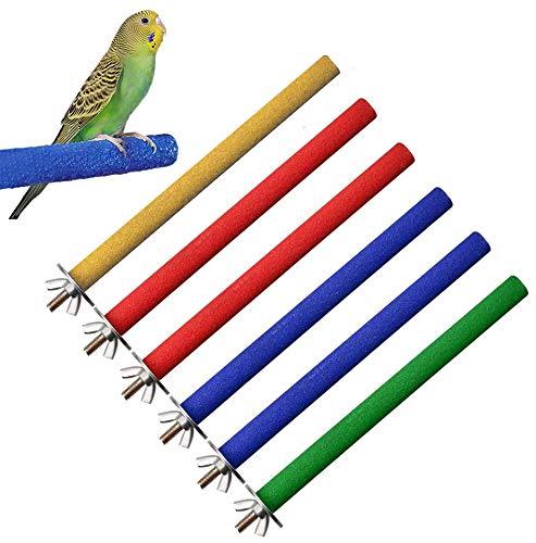 Hcpet Sitzstangen Vögel, 6 PCS Sitzstangen für Vögel   Vogel Spielzeug für Den Käfig   Ohne Werkzeug an Jedem Käfig Einfach zu Befestigen
