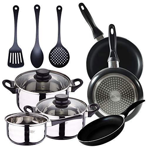 Batteria da cucina 5 pezzi in acciaio inox e 3 pezzi utensili da cucina e set 3 padelle 16/20/24 cm, nero, alluminio pressato, induzione