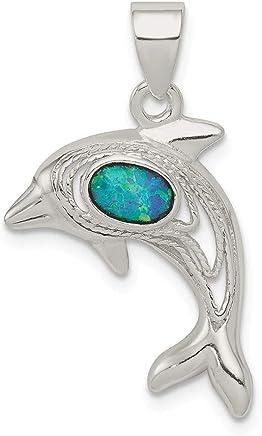 Colgante de delfín de ópalo azul de plata de ley 925