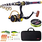 Sougayilang Telescopic Fishing Rod and Reel Combos Spinning Reel Fishing Pole Sets with Line Lures and Fishing Carrier Case-2.1M/6.83Ft