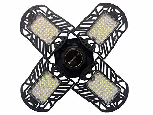 LED Garage Lighting, Deformable Garage Light 6000LM, 60W LED Garage Ceiling Lights, Shop Lights with 3 Adjustable Panels, Ceiling LED Light for Garage, Basement Warehouse Etc.(Black)