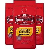 Community Coffee and Chicory Medium Dark Roast Premium Ground 12 Oz Bag (3 Pack), Full Body Rich Flavorful Taste, 100% Select Arabica Beans