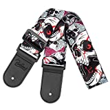 Skull Guitar Strap & Leather Ends Guitar Shoulder Strap for Bass, Electric, Acoustic Guitars.Best Gift for Men Women Guitarist (Skull Black)