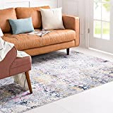 Rugs.com Malibu Collection Area Rug – 9' x 12' Multi Low-Pile Rug Perfect for Living Rooms, Large Dining Rooms, Open Floorplans