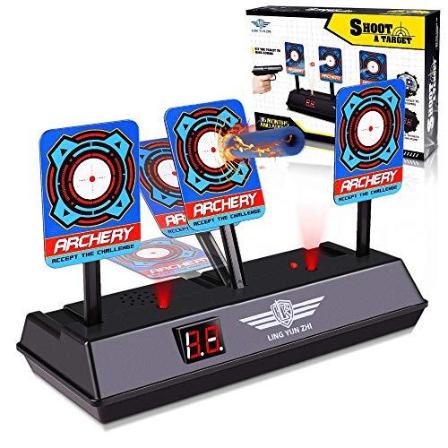 Skuokco おもちゃ 電子ターゲット Nerfナーフ対応 電子銃射撃ターゲット 自動リセット 子供玩具 液晶ディスプレイ 自動起き上がり機能 品質は非常に良い 安全無毒