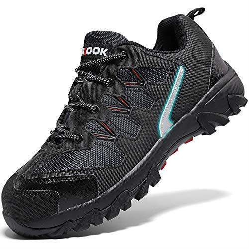 Zapatos de Seguridad para Hombre con Puntera de Acero Zapatillas de Seguridad Trabajo, Calzado de Industrial y Deportiva(A Negro,41 EU)