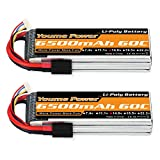 Youme 4S Lipo Battery, 14.8V Lipo 4S 6500mAh 60C with TRX Plug for Traxxas Slash X-Maxx RC Buggy Truggy Crawler Monster Car ,Helicopter,Airplane (2Packs)