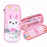 Cute Pencil Case for Kids, Cartoon Large Capacity Storage Case Pouch Marker Pen Case Hardtop Zipper Stationery Bag School Office Organizer for Girls (Pink Rabbit)