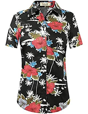Machine wash cold, tumble dry low. Do not bleach Regular fit, perfect tailored silhouette. Lightweight cotton of soft and comfortable Hawaiian shirt with spread collar, short sleeves and curved hem, front logo button closure Allover vibrant flowers a...