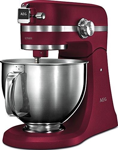 AEG KM5520 Robot de Cocina con Bol Batidora, Amasadora, Apta para Lavavajillas, Dos Boles , 10 Velocidades, Iluminación LED, Múltiples Varillas,1200 W,de 2.9L y 4.8L,Rojo