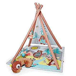 Activity center is packed with over 17 developmental activities, playmat features fun textures and peek-a-boo felt flap, and includes plush, sleeping bear tummy time pillow Four ways to play: Overhead play, tummy time mat, seated play, playmat 17+ de...