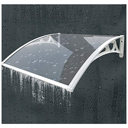 Marquesina Puerta Exterior QIANDA Ventana Toldo Porche Techo Lluvia Lavado De Lluvia Autolimpiante Proporcionar Abrigo, Transparente con Blanco Soportes De Aluminio (Size : 60cmx120cm)