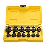 Topec Impact Bolt & Nut Remover Set 13 Pieces, Nut Extractor Socket, Bolt Remover Tool Set