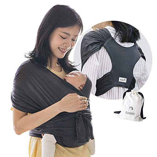 Konny Baby Carrier Summer   Ultra-Lightweight, Hassle-Free Baby Wrap Sling   Newborns, Infants to 44 lbs Toddlers   Cool and Breathable Fabric   Sensible Sleep Solution (Charcoal, M)